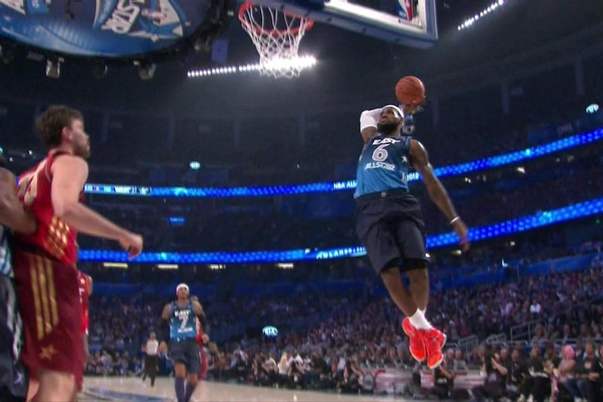 LeBron James dunks during the 2012 NBA All-Star Game