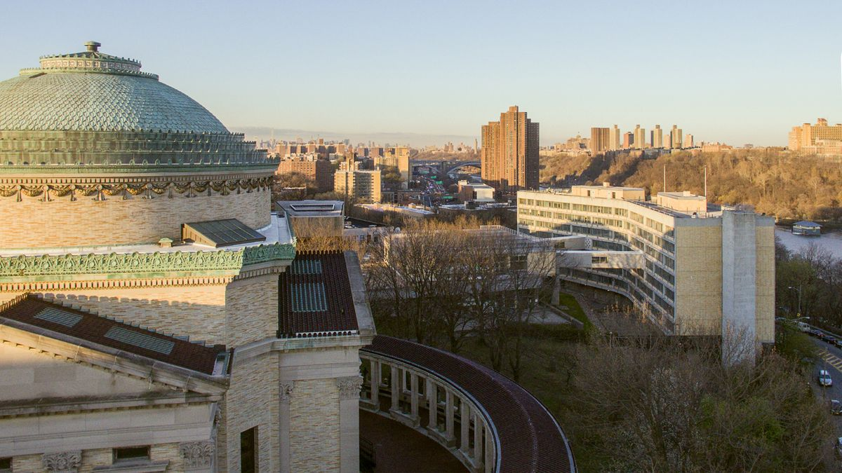 The Bronx Community College campus, with Stanford White's Gould Memorial  Library on the left and Marcel Breuer's Carl Polowczyk Hall on the right