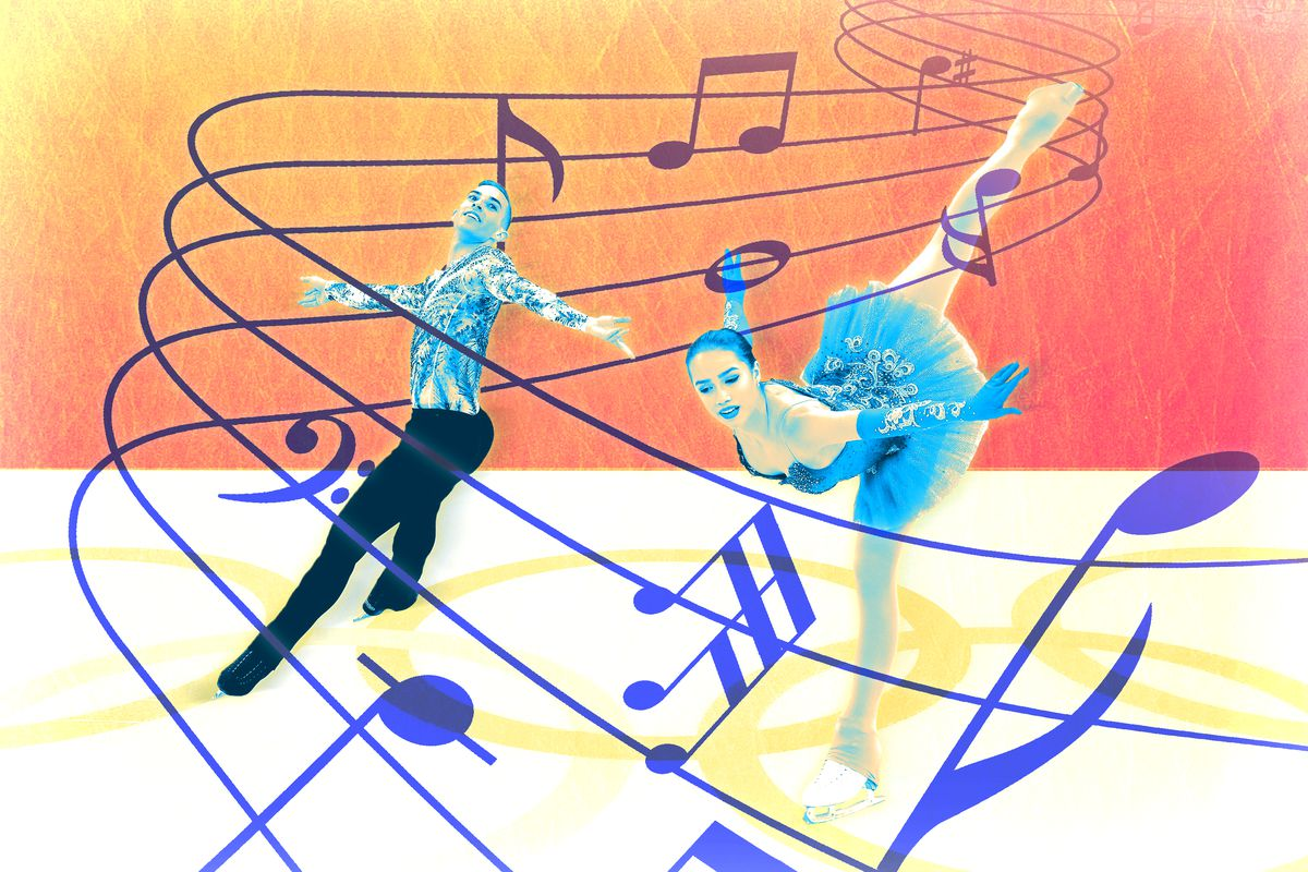 An illustration of two figure skaters surrounded by music notes