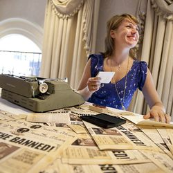 Guests step back into the time of prohibition and get poetry written about their lives at the Pernod Absinthe tasting event Saturday afternoon.