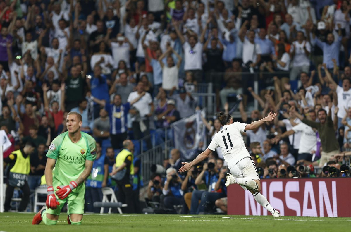 Bale (Real Madrid) celebrates after scoring a goal during...