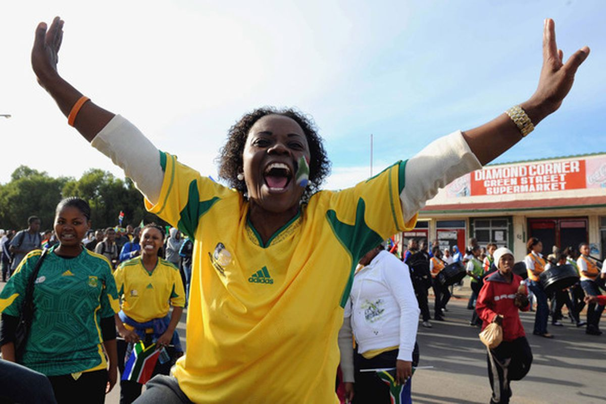 This woman's been ready for months.  (Photo by 2010 FIFA World Cup Organising Committee South Africa via Getty Images)