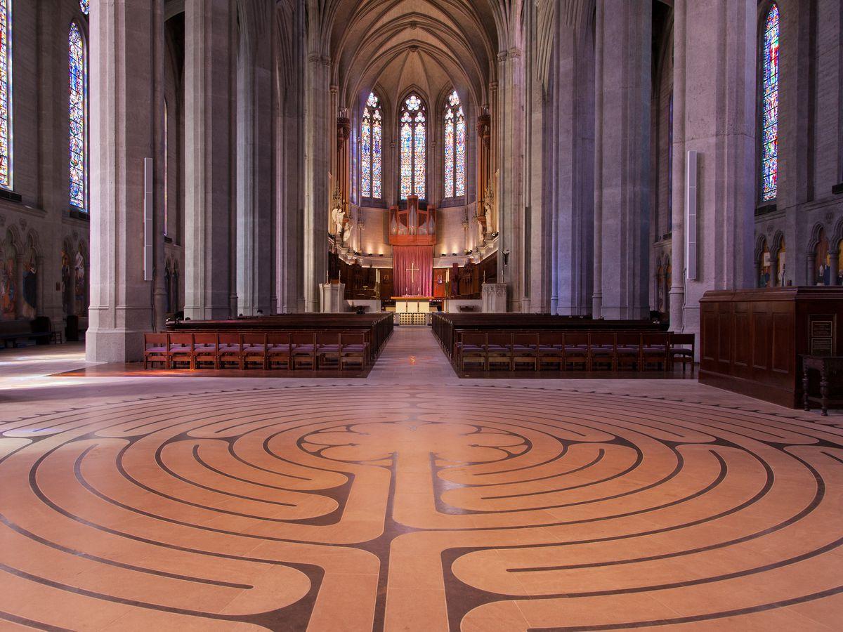 A labyrinth on the floor.