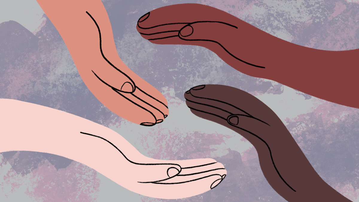 Illustration of four hands circling each other.