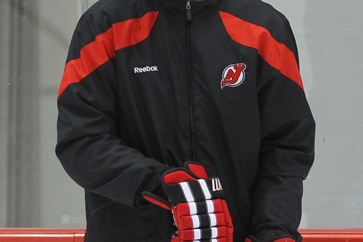 May 29; Newark, NJ, USA; New Jersey Devils assistant coach Larry Robinson during practice on media day for the 2012 Stanley Cup Finals at the Prudential Center. Mandatory Credit: Ed Mulholland-US PRESSWIRE