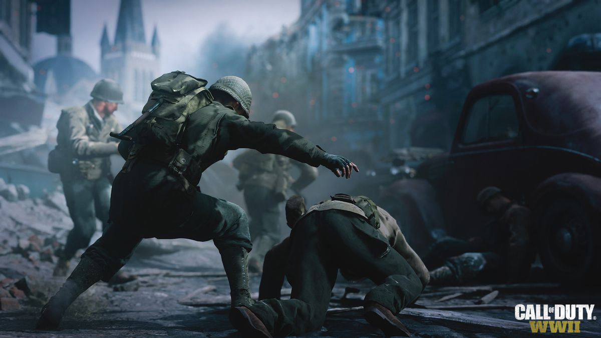 Call of Duty: WWII - A soldier tumbles to the ground