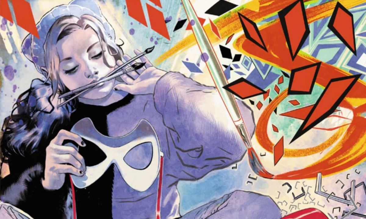 A young Harleen Quinzel (Harley Quinn), holds a domino mask in her hands and two paintbrushes in her mouth, at the center of a colorful swirl of shapes and paint, in Harley Quinn: Breaking Glass, DC Comics (2019).