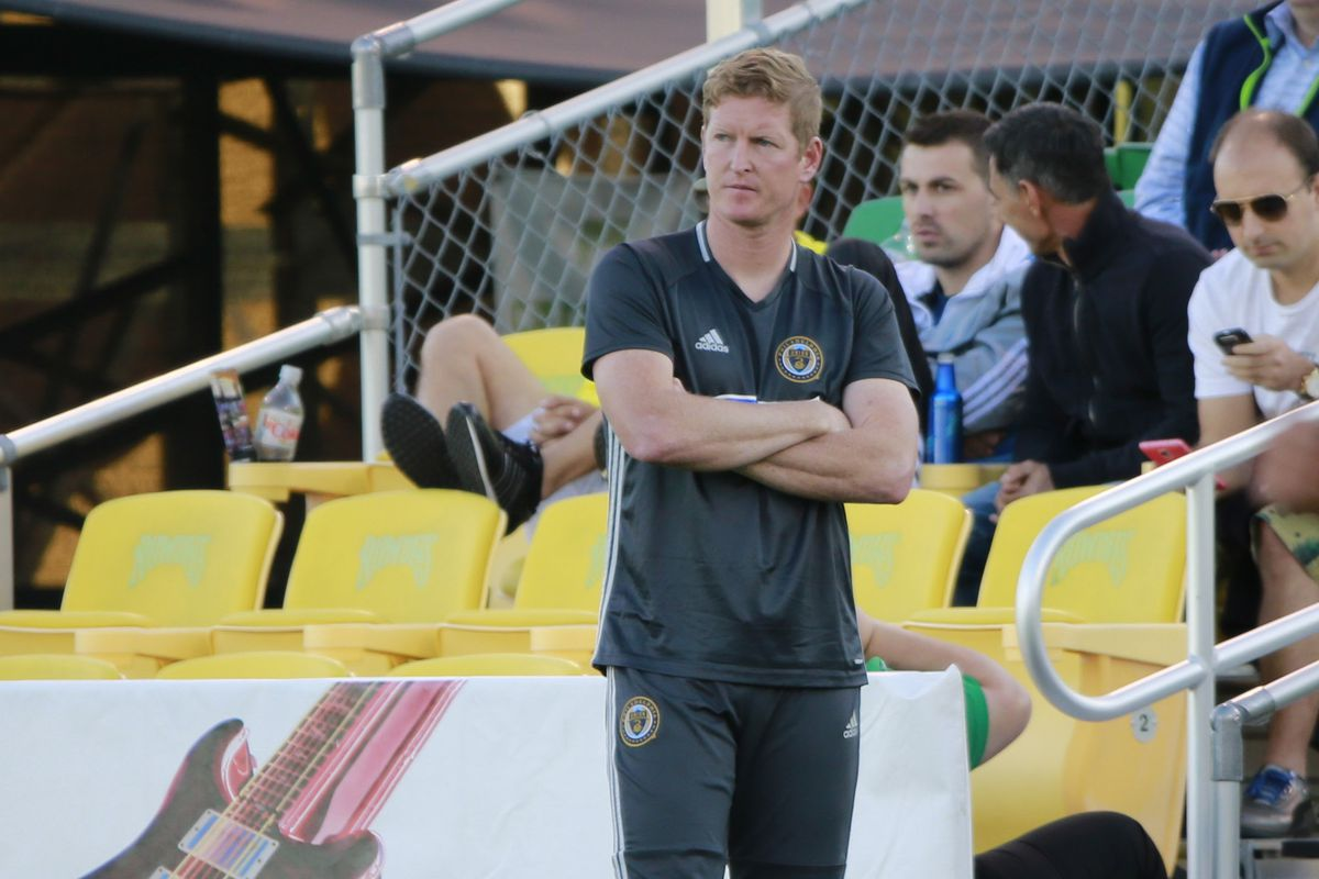 Union manager Jim Curtin watching the Union against D.C. United