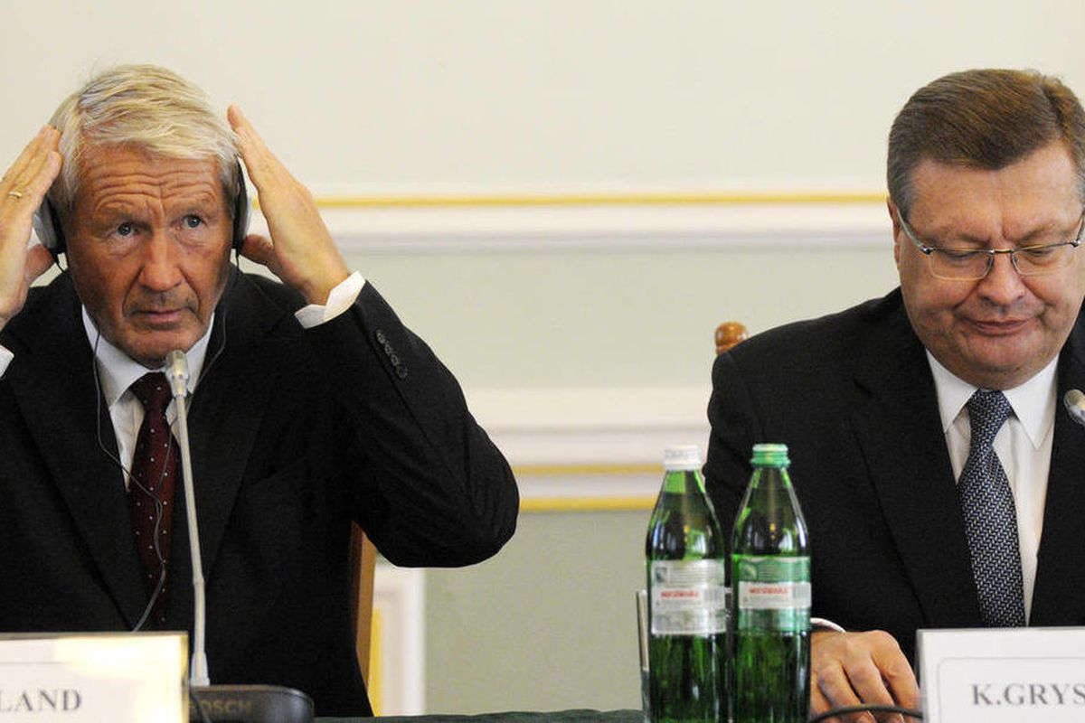 Council of Europe Secretary General Thorbjorn Jagland, left, and Ukraine's Foreign Minister Kostyantyn Gryshchenko during a press conference in Kiev, Ukraine, Monday, Sept. 10, 2012. The head of Europe's top human rights watchdog is urging the Ukrainian a