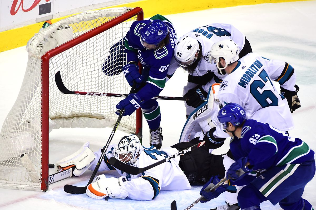 Apr 2, 2019; Vancouver, British Columbia, CAN; Vancouver Canucks forward Markus Granlund (60) crashes into the net after scoring against San Jose Sharks goaltender Martin Jones (31) and defenseman Brent Burns (88) during the third period at Rogers Arena.&