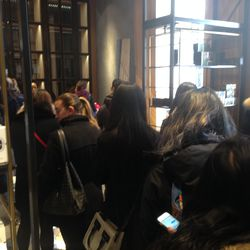 The line to check out ran through the sale space