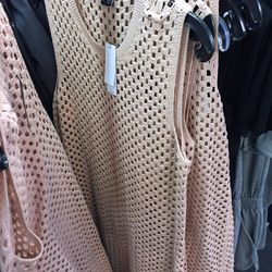 Woven dress in rusty pink, $149 (was $395)