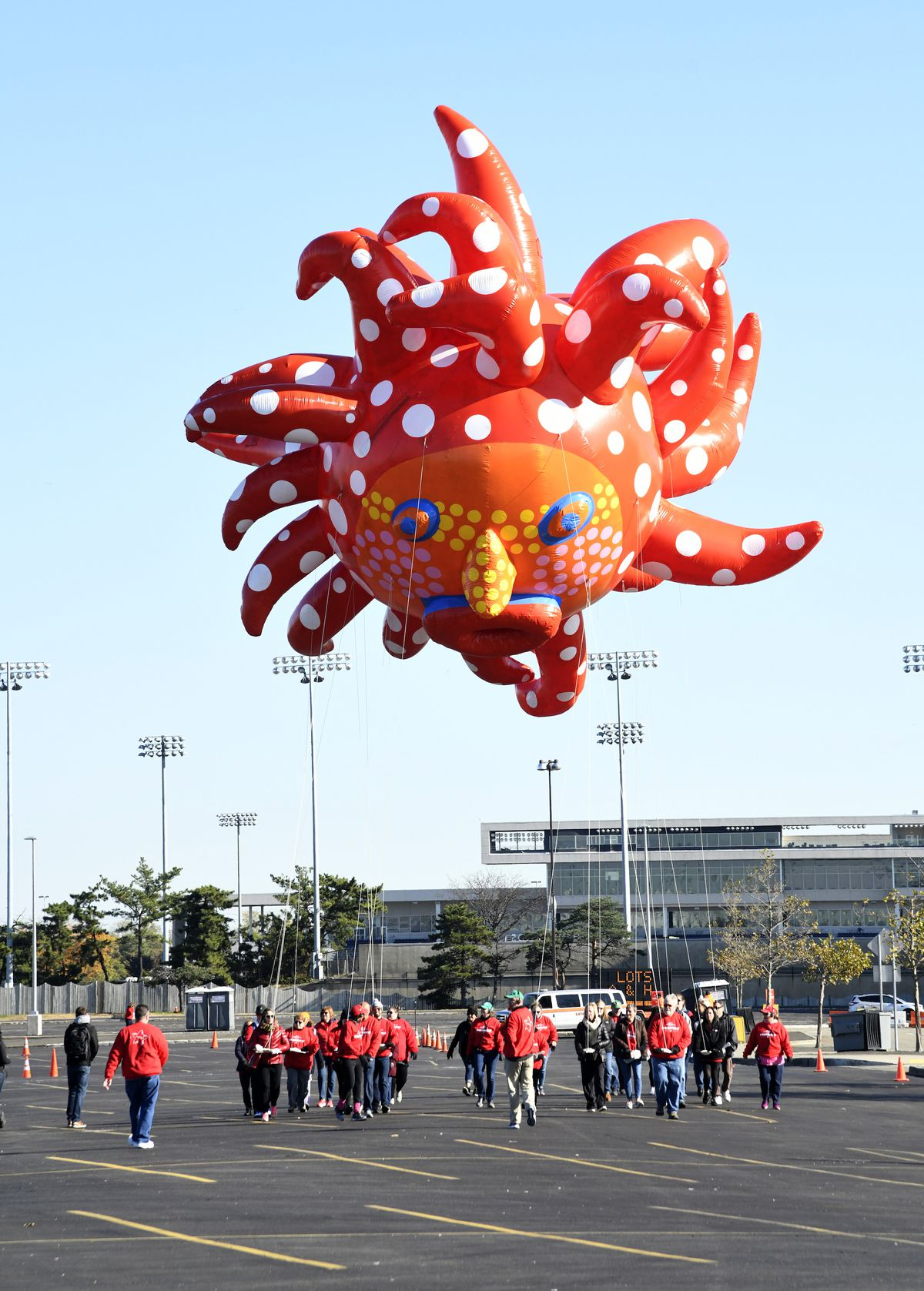 Love Flies up to the Sky by Yayoi Kusama is seen as Macy's unveils new giant character balloons for the 93rd annual Macy's Thanksgiving Day Parade