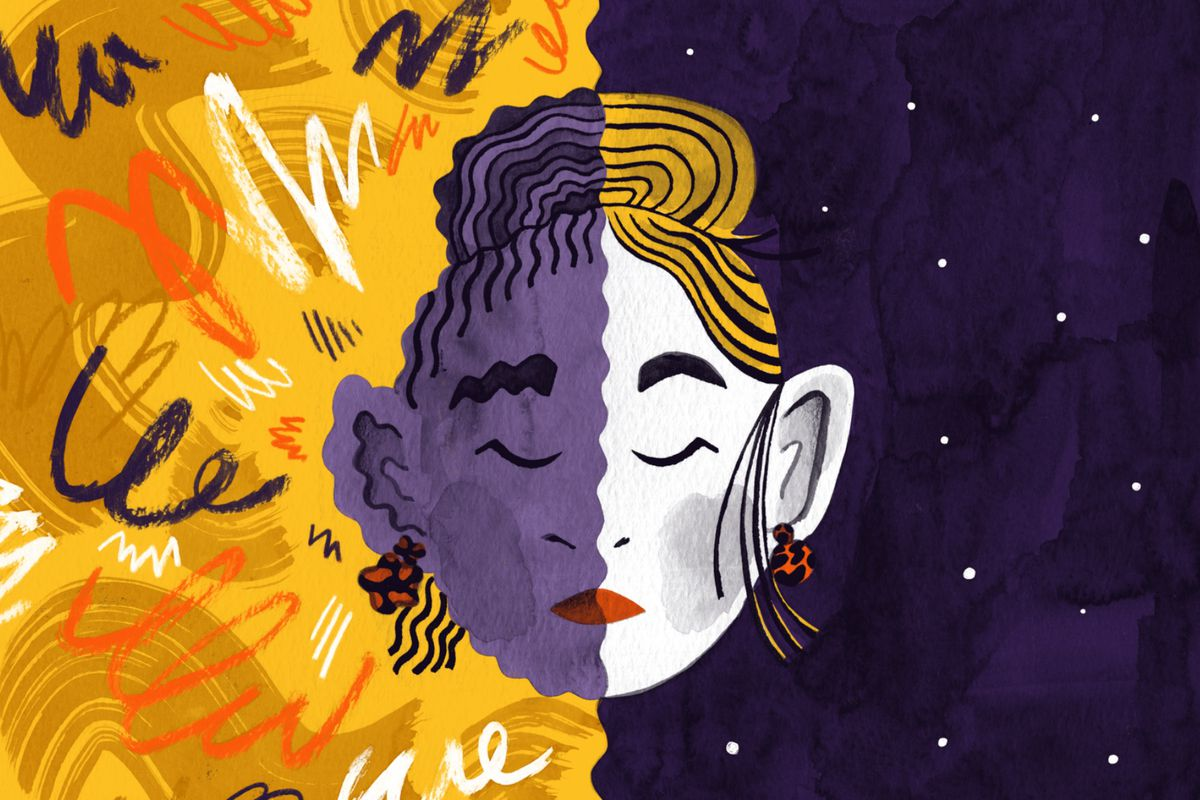 A split composition of a female's face. On the left size there's abstracted sound waves and the woman, who is a person of color, appears to be affected negatively by this chaos. On the right there is a white woman who is calm and serene in front of a night sky. Illustration.