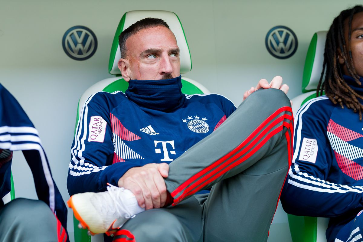 WOLFSBURG, GERMANY - OCTOBER 20: Franck Ribery of Bayern Muenchen sits on the bench prior the Bundesliga match between VfL Wolfsburg and FC Bayern Muenchen at Volkswagen Arena on October 20, 2018 in Wolfsburg, Germany.