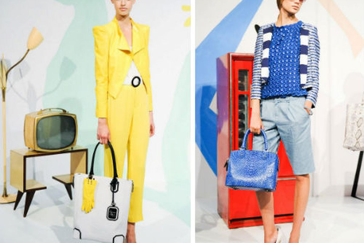 """Two looks from Alice + Olivia's <a href=""""https://www.facebook.com/media/set/?set=a.10151024183556109.417062.228746771108&amp;type=3"""">spring campaign</a>"""