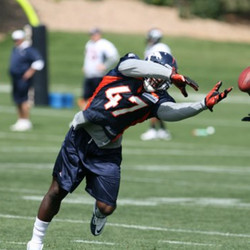 """""""Alvin Bowen reaches for a pass during Monday's practice."""" Claimed August 16, 2011 cut September 3, 2011"""