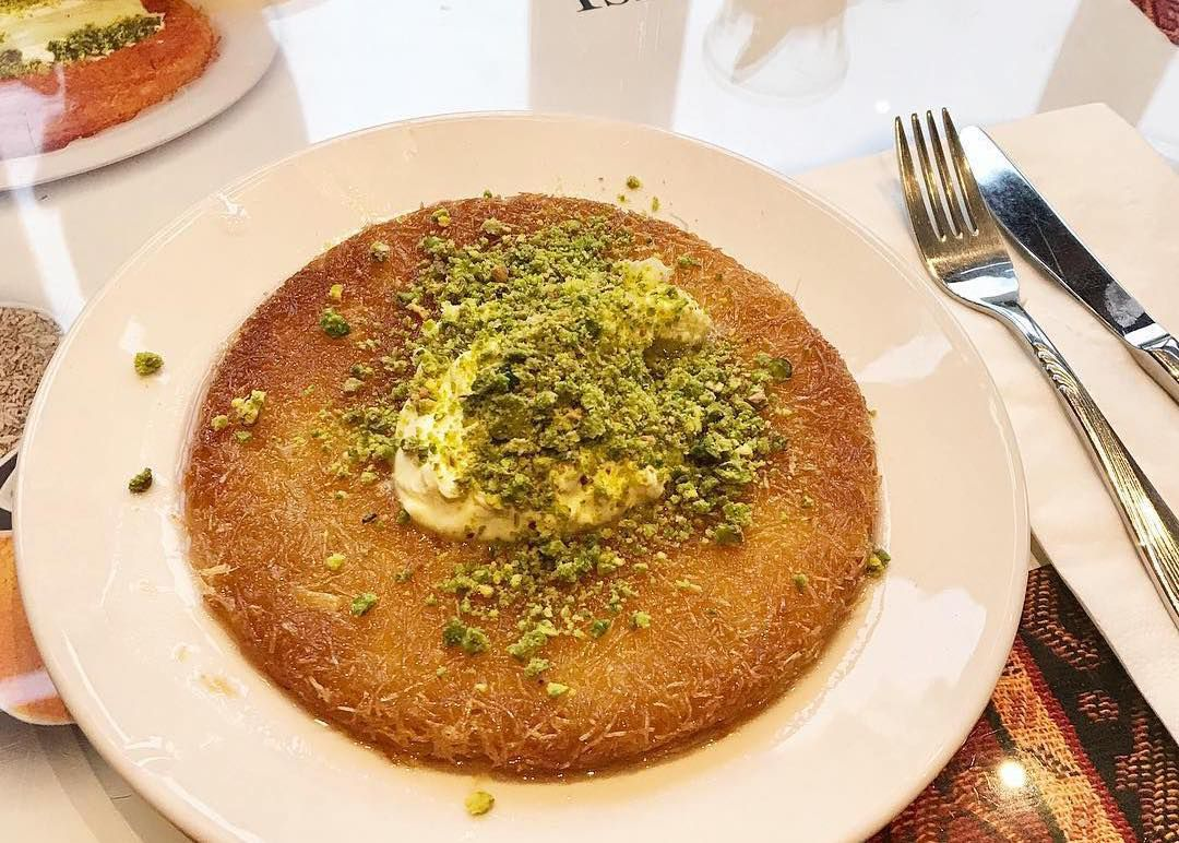 kunefe with pistachios and clotted cream at antepliler, haringey, one of london's best bakeries