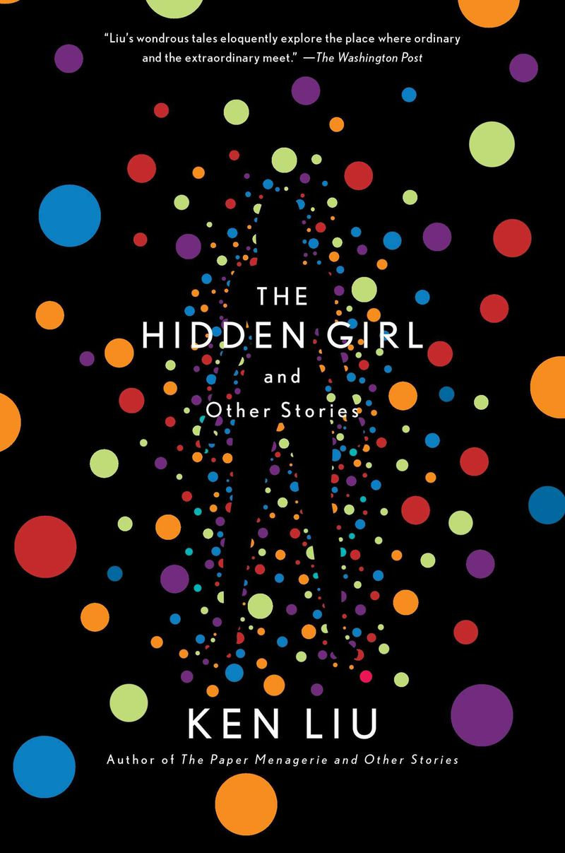lots of colored balls floating around a woman's body in the hidden girl by ken liu