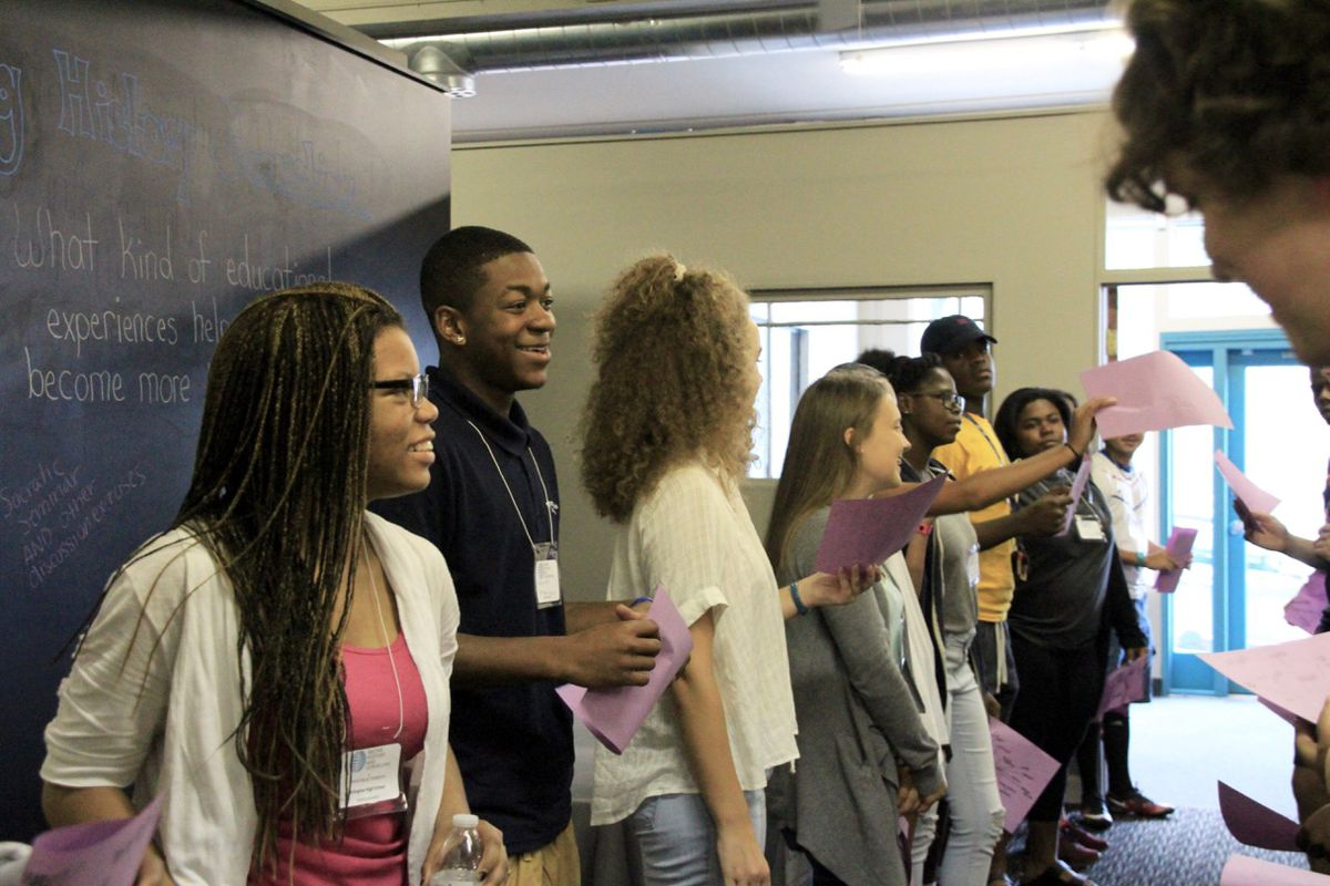 Memphis students talk about leadership qualities they admire at a training program with Facing History and Ourselves.