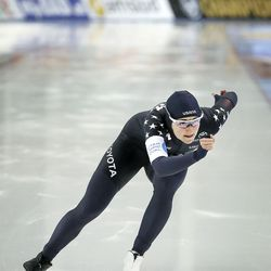 USA's Kimi Goetz competes in the 500m. at the ISU World Single Distances Speed Skating Championships at the Utah Olympic Oval in Kearns on Friday, Feb. 14, 2020. Goetz earned her best time, 37.183, and that was good enough to earn fifth place and make her the top American finisher.