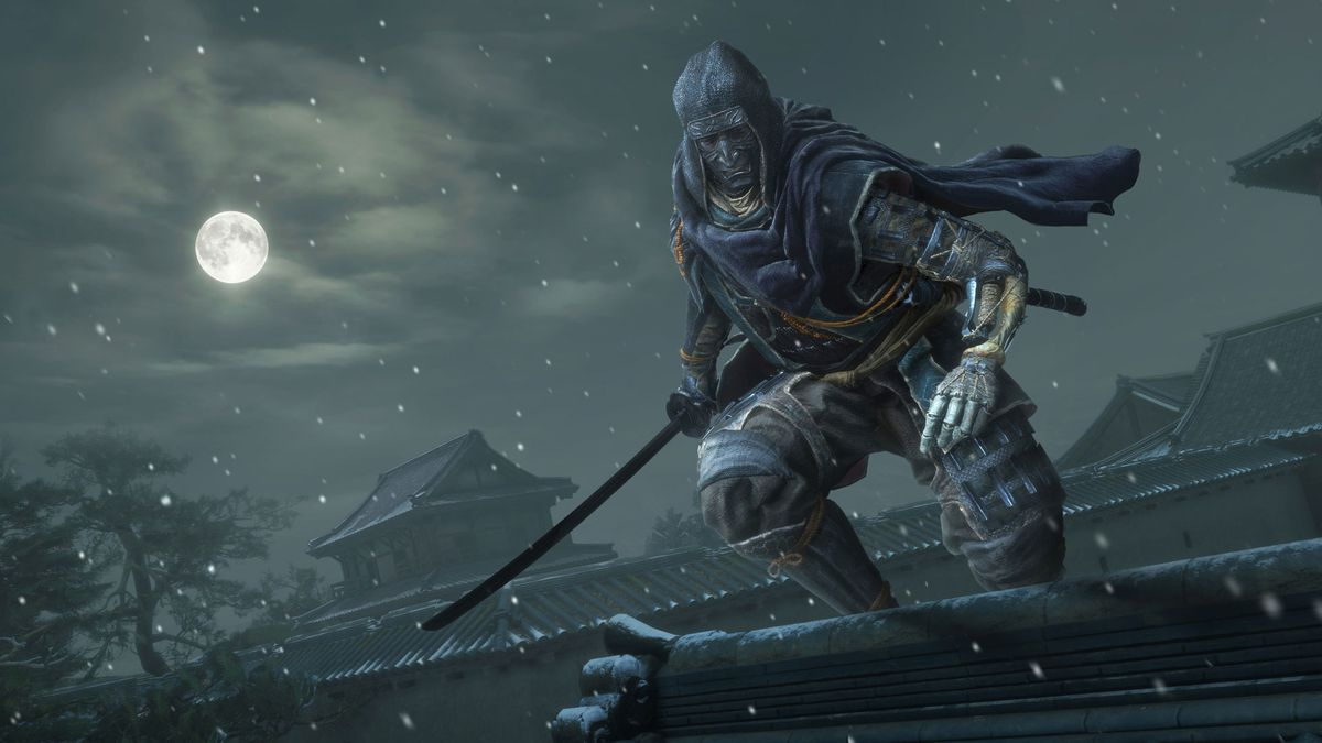 An alternate costume for the Wolf, who stands on a rooftop in the moonlight, from Sekiro.