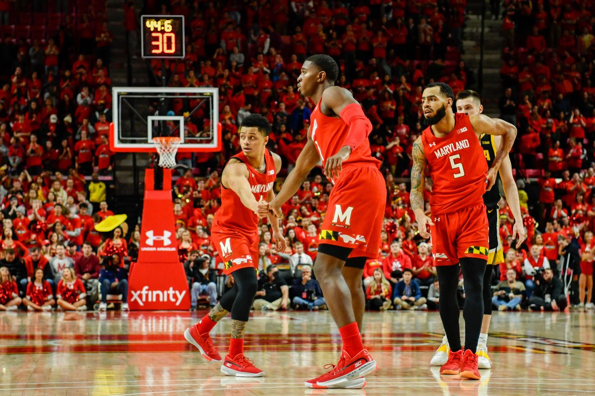group photo, Maryland men's basketball vs Iowa, 2020