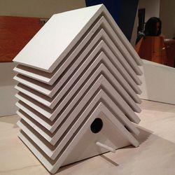"""I think seeing beauty is uplifting for the mind, so I'm constantly checking out museums whenever I get a chance. Here's a modern take on the classic birdhouse I saw at <b><a href=""""http://www.moma.org"""">MoMA PS1</a></b>."""