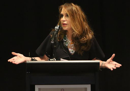 <small><strong>Pamela Geller, co-founder and president of Stop Islamization of America, is shown during the American Freedom Defense Initiative program at the Curtis Culwell Center on Sunday in Garland, Texas.   Gregory Castillo/The Dallas Morning News vi