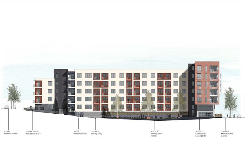 A rendering of a red and white apartment building.