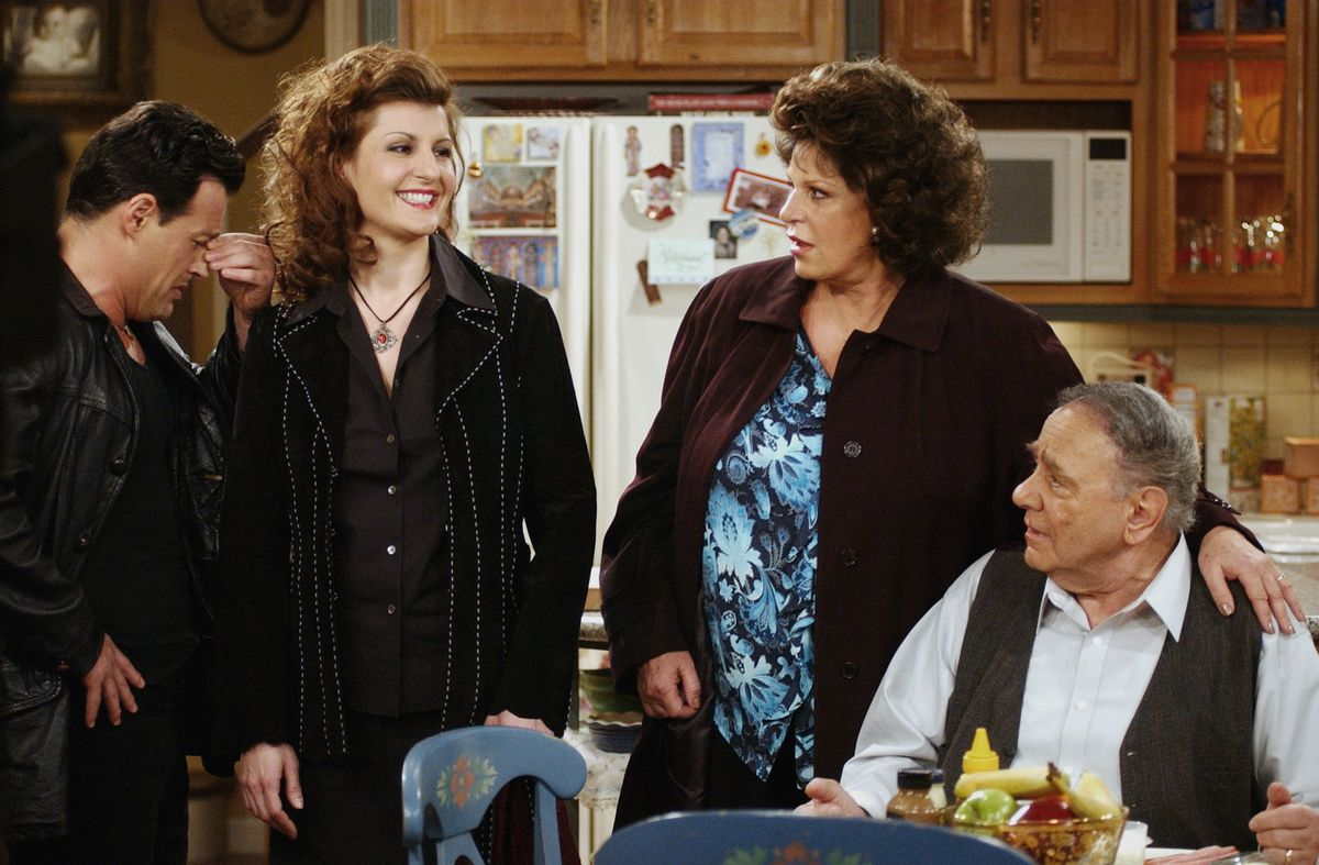 """Cast members Louis Mandylor (from left), Nia Vardalos, Lainie Kazan and Michael Constantine are shown on the set of the CBS comedy series """"My Big Fat Greek Life,"""" based on the hit film """"My Big Fat Greek Wedding,"""" in 2003."""