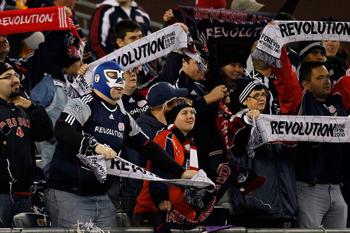 FOXBORO MA - OCTOBER 16:  Fans of the New England Revolution react during a game against the Kansas City Wizards at Gillette Stadium on October 16 2010 in Foxboro Massachusetts. The Revolution won 1-0. (Photo by Jim Rogash/Getty Images)