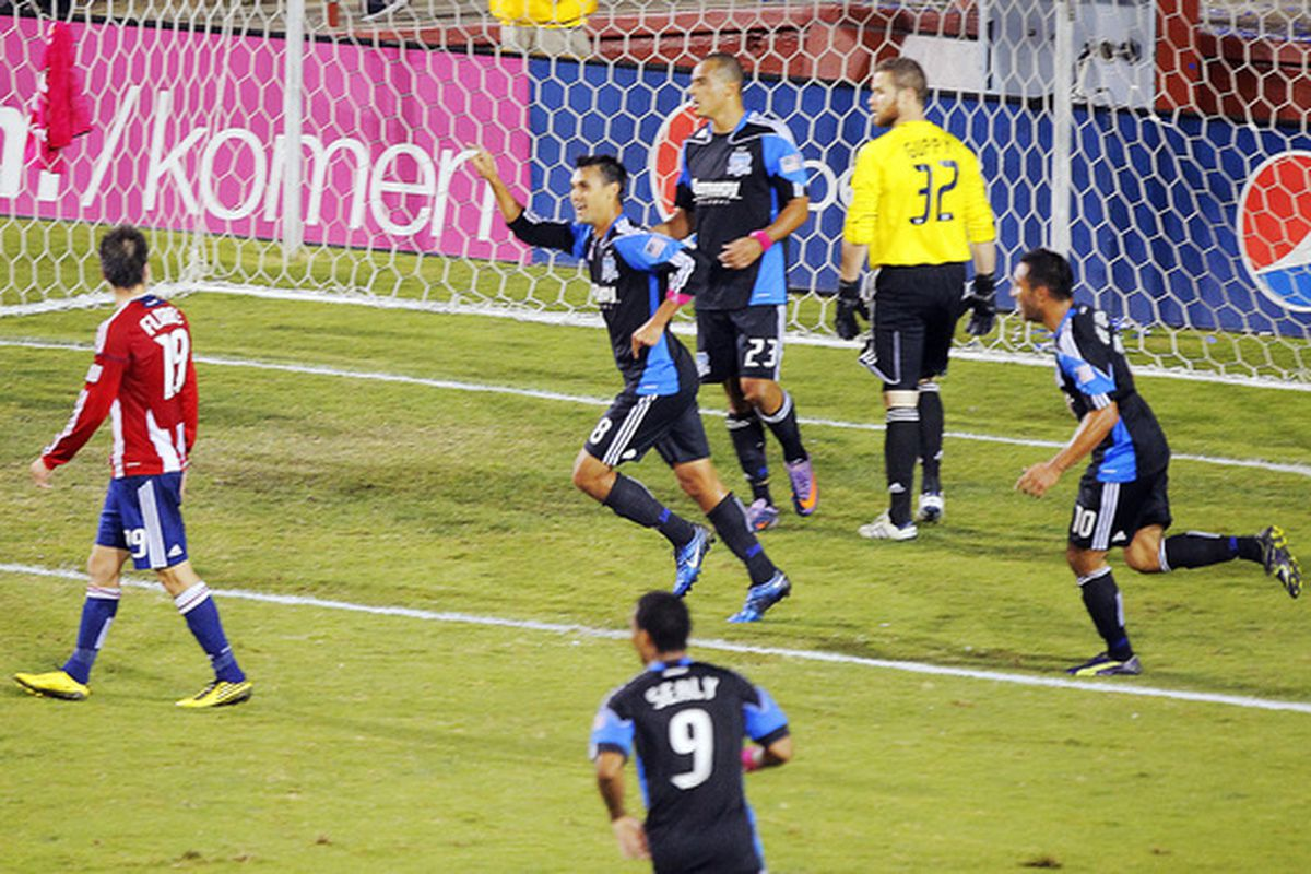 SANTA CLARA CA - OCT:  Chris Wondolowski of the San Jose Earthquakes celebrates after his third goal against Chivas USA in the second half as a substitute on October 20 2010.