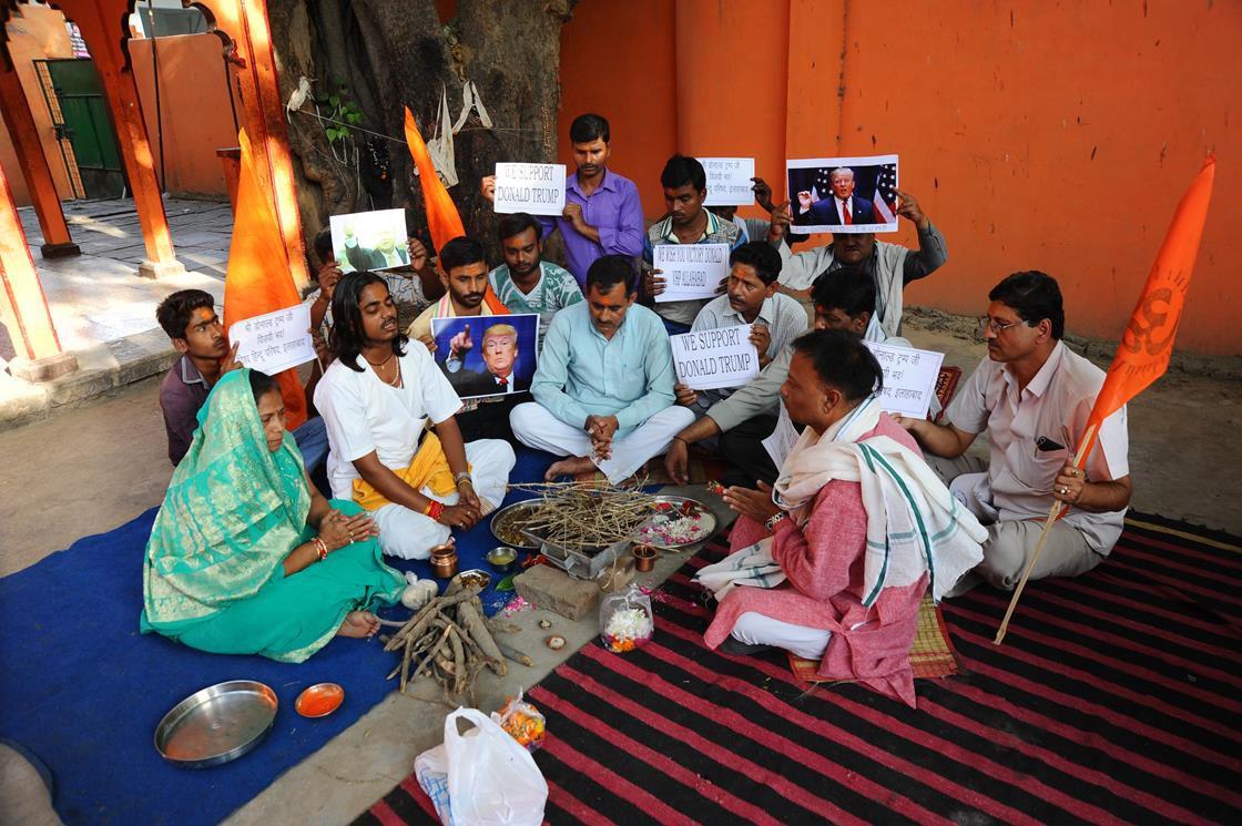 Hindu nationalist Vishva Hindu Parishad activists pray for Trump's victory last May in Allahabad.