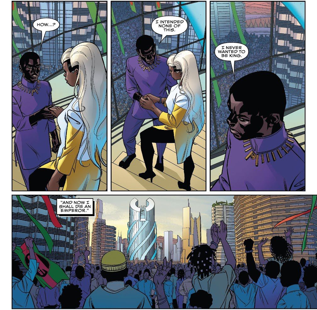 """""""I intended none of this,"""" T'Challa says, """"I never wanted to be king. And now I shall die an emperor."""" Black Panther #25, Marvel Comics (2021)."""