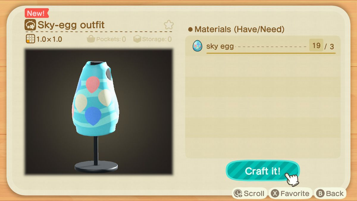 A crafting screen in Animal Crossing showing how to make a Sky-Egg Outfit
