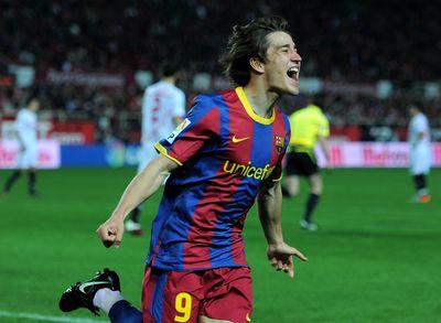 Bojan Krkic celebrates a goal for Barcelona in 2011.