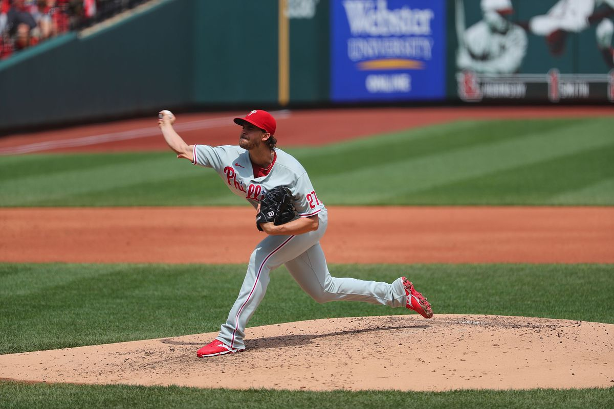 Aaron Nola #27 of the Philadelphia Phillies delivers a pitch against the St. Louis Cardinals at Busch Stadium on April 29, 2021 in St Louis, Missouri.