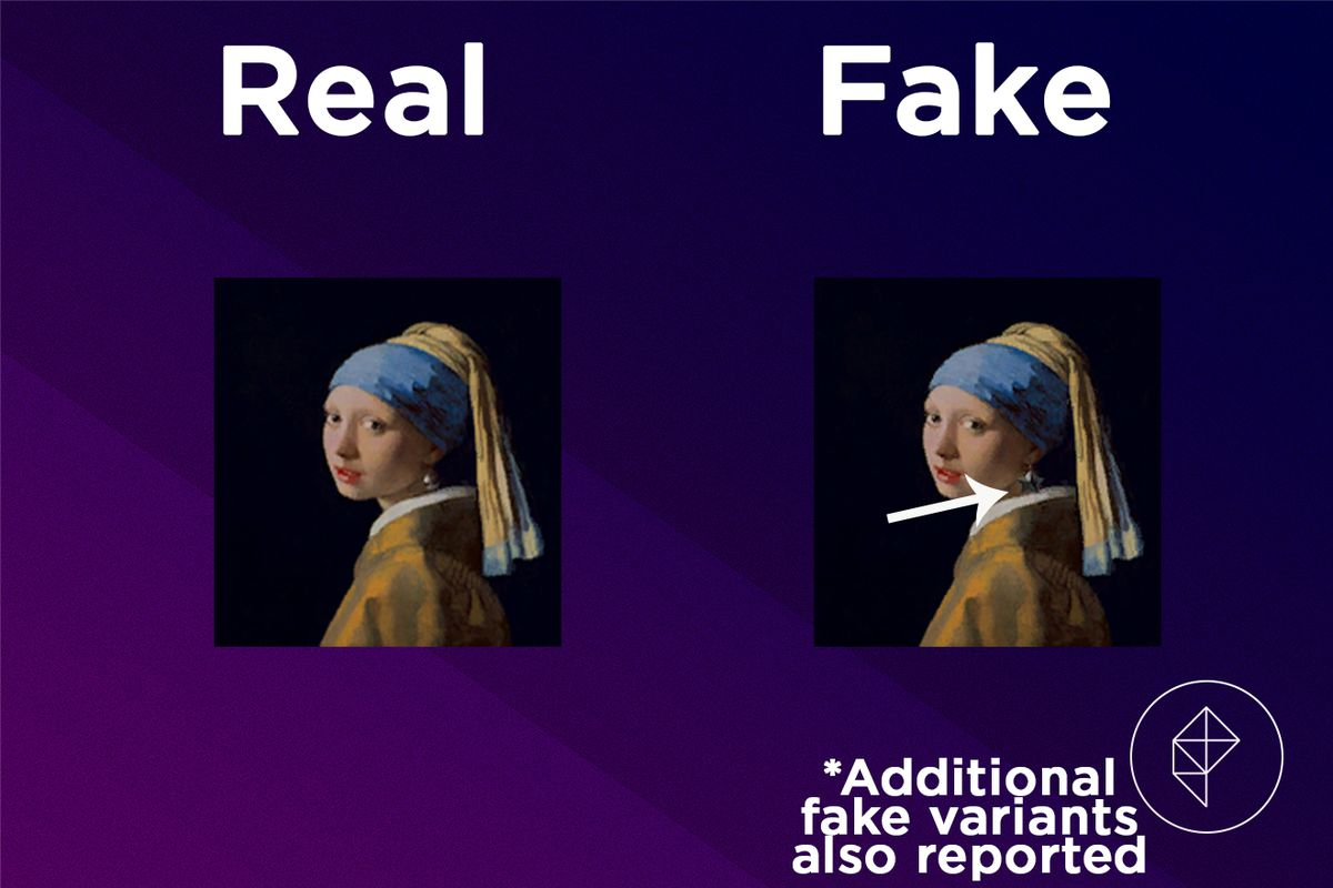 A comparison between the real and fake Wistful Painting. The fake version is wearing a star-shaped earring.
