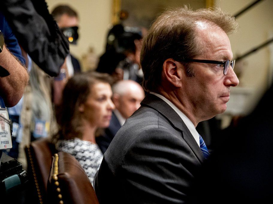 Rep. Peter Roskam, R-Il., attends a meeting with President Donald Trump in the Cabinet Room of the White House, Tuesday, July 17, 2018, in Washington. Trump says he meant the opposite when he said in Helsinki that he doesn't see why Russia would have inte