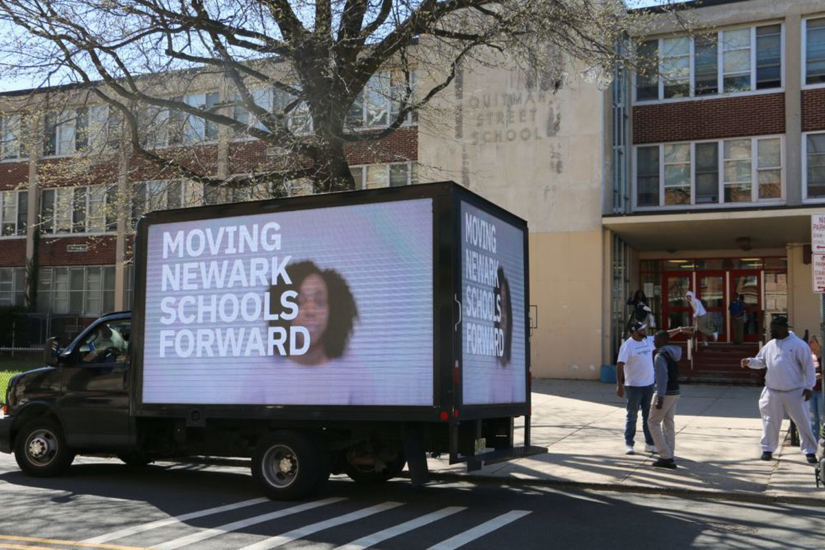 A mobile billboard for one of the three winning candidates in Newark's April school board election. An outside group spent more than $97,000 — including $60,000 from Public School Allies — to support the three candidates.