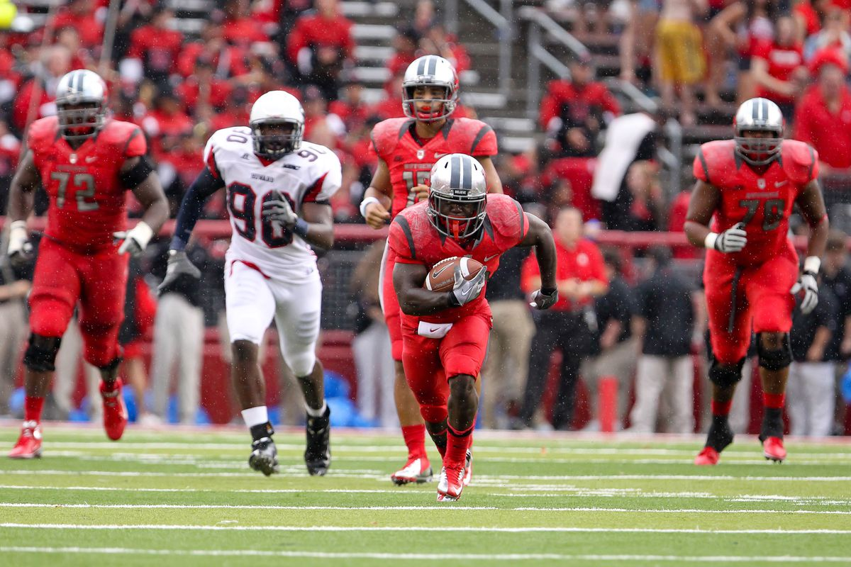 Sept 8, 2012; Piscataway, NJ, USA; Rutgers Scarlet Knights running back Jawan Jamison (23) runs with the ball during the second half at High Point Solutions Stadium.  Rutgers defeated Howard Bison 26-0.  Mandatory Credit: Ed Mulholland-US PRESSWIRE