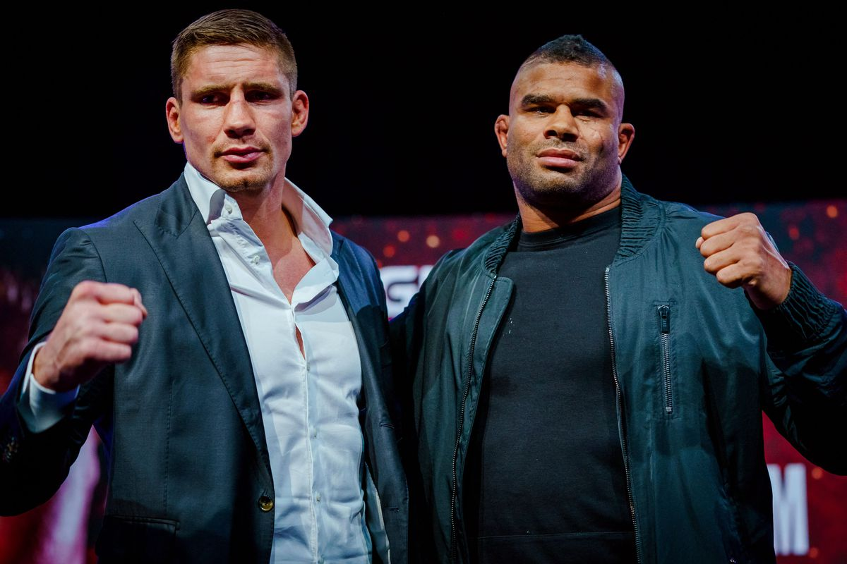 Alistair Overeem and Rico Verhoeven during their press conference for GLORY: Collision 3.