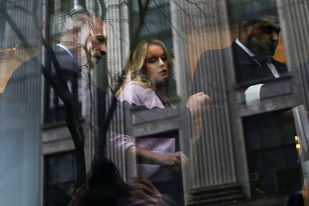 Adult film actress Stormy Daniels and her lawyer Michael Avenatti arrive at the United States District Court Southern District of New York for a hearing related to Michael Cohen, Trump's personal lawyer.