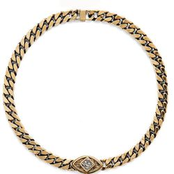 """<b>Lady Grey</b> Lucid Choker in Gold with Bismuth, <a href=""""http://www.ladygreyjewelry.com/products/lucid-choker-in-gold-with-bismuth"""">$215</a>"""