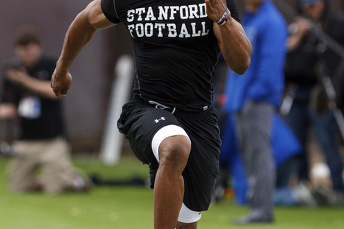Mar 22, 2012; Stanford CA, USA;  Stanford Cardinal safety Delano Howell during pro day at Stanford Practice Fields.  Mandatory Credit: Jason O. Watson-US PRESSWIRE