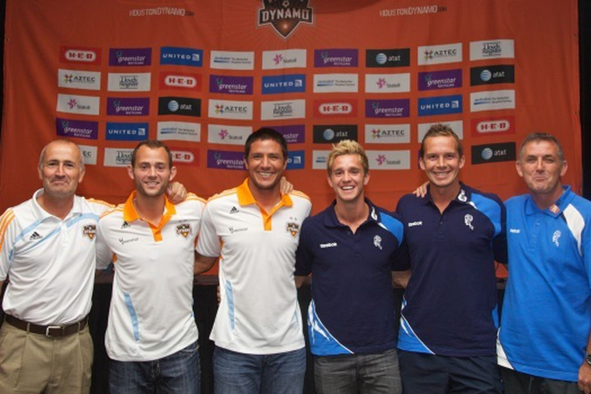 Photo Credit: Anthony Vasser / Houston Dynamo Players and coaches pose prior to the 2011 Dynamo Charities Cup