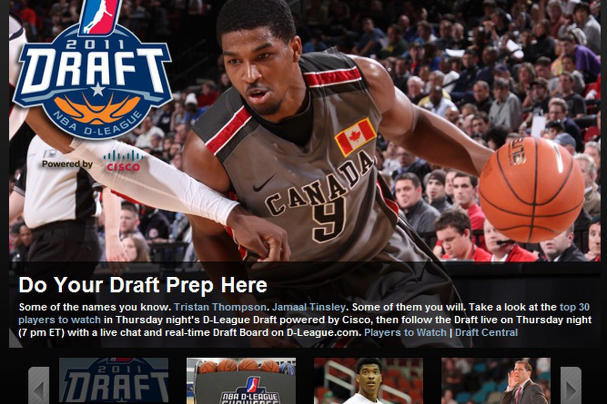 """This is currently leading off the <a href=""""http://www.nba.com/dleague/"""" target=""""new"""">NBA Development League's home page</a>."""