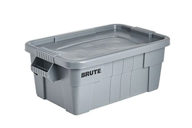 Large gray storage bin with lid.