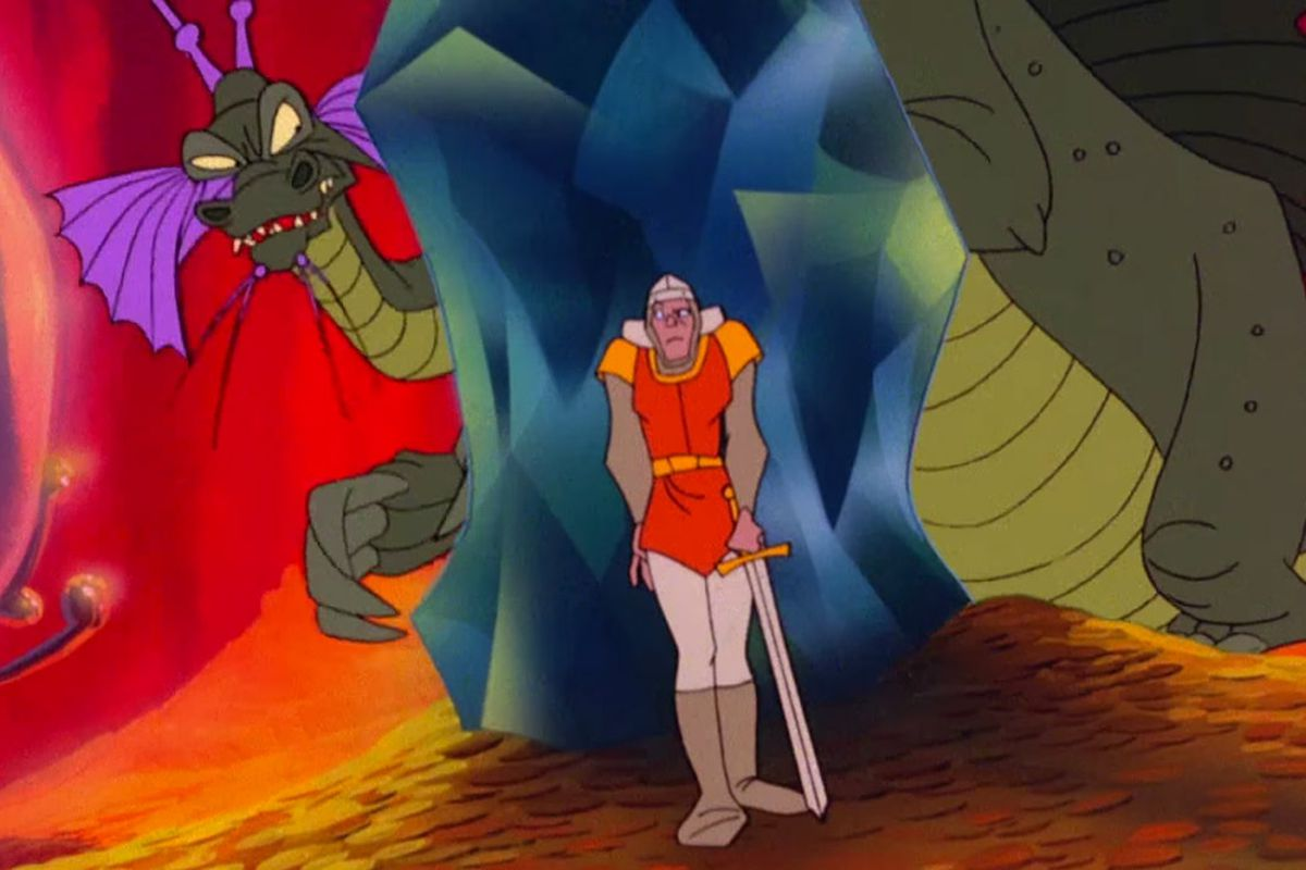 scene from the cartoon-animated Dragon's Lair. Dirk is hiding behind a pillar from a menacing green dragon